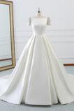 Rücken Schnürung Lange Birneförmig Natürliche Taille Drapierung Brautkleid
