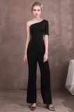Drapierung Asymmetrische Ärmel Slim edel Reißverschluss Abendkleid