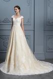 Natürliche Taille Formell Mittelgröße Kurze Ärmel Lange A-Linie Brautkleid