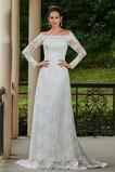 Natürliche Taille Slim Knopf Stealth Ärmel Vintage Satin Brautkleid