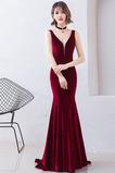 V-Ausschnitt Elegant Tiefer V-Ausschnitt Reißverschluss Abendkleid