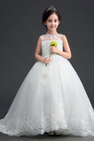 Formell A-Linie Ärmellos Tüll Lange Juwel Blumenmädchenkleid