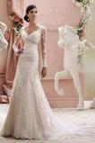V-Ausschnitt Empire Taille Stealth Ärmel Meerjungfrau Spitze Brautkleid