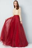 Natürliche Taille Elegant Spitzen-Overlay Bodenlang Applike A-Linie Abendkleid