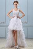 Gericht Schleppe Weiß Natürliche Taille Ärmellos Spitze Brautkleid