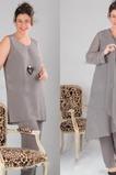 Übergröße Chiffon Knöchellang Lange Ärmel Natürliche Taille Hosenanzug Kleid