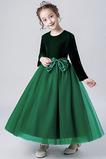 T-Shirt Luxus Tüll A-Linie Knöchellang Juwel Blumenmädchenkleid