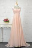 Rosendekor Plissiert Juwel Chiffon Formell Mitte Rücken Abendkleid