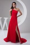 Asymmetrischer Ausschnitt Ärmellos Mittelgröße Natürliche Taille A-Linie Abendkleid