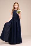 Ärmellos Elegant Knöchellang Sommer Juwel Reißverschluss Blumenmädchenkleid