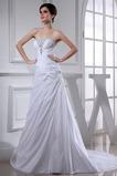 Satin Rücken Schnürung Natürliche Taille Lange A-Linie Brautkleid