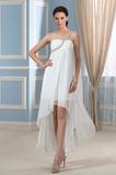 Asymmetrisch Rückenfrei Schlicht Falte Mieder Outdoor Brautkleid