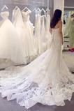 Natürliche Taille Luxus Rücken Schnürung Applike Tüll Brautkleid