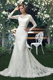 Durchsichtige Ärmel Hoch Überdachte Spitze Natürliche Taille Brautkleid