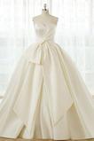 Luxus Natürliche Taille Winter Rücken Schnürung Kirche Brautkleid