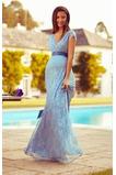 V-Ausschnitt Hoch Überdachte Schwangere Empire Schick Abendkleid