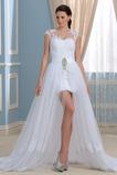 edel Vorne Geschlitzt Kurze Ärmel Bateau Asymmetrisch Brautkleid