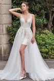 Rückenfrei Natürliche Taille Sommer A-Linie Spitze Outdoor Brautkleid