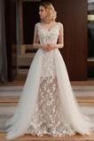Elegant Spitze Natürliche Taille Lange Ärmellos Spitze Brautkleid