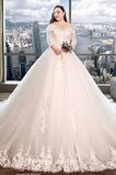 Durchsichtige Ärmel Royal Schleppe bandage V-Ausschnitt Herbst Tüll Brautkleid