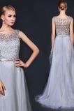 Spitze Luxus A-Linie Natürliche Taille Ärmellos Sommer Abendkleid