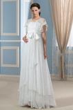 Empire Taille moderne Kurze Ärmel Outdoor Spitze Asymmetrisch Brautkleid