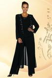 Vintage Knöchellang Natürliche Taille Chiffon 2 Stück Hosenanzug Kleid