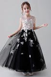 Rosendekor A-Linie Knöchellang Mittelgröße Juwel Blume Blumenmädchenkleid