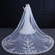 Big Tail Schleier Hochzeit Braut Brautschleier edle Pailletten Spitze Applique Schleier