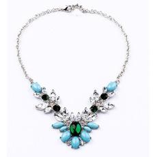 Hochzeit-Legierung Intarsien Edelstein Kristall Blumen Halskette & Anhänger