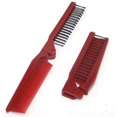 Holzmaserung rot Faltung Multifunktions tragbaren kleinen Spiegel & Kamm