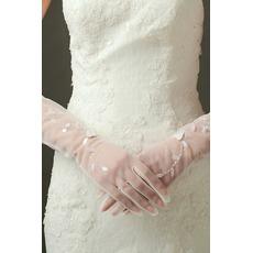 Sexy Transluzent Herbst Volle finger Lange Schatten Hochzeit Handschuhe