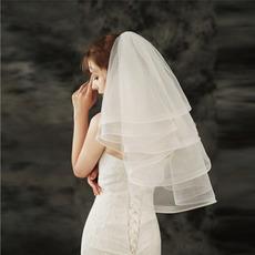 Kurzer geschwollener Schleier billige einfache Schleier Hochzeit Zubehör