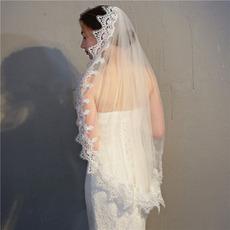 Einschichtig mit Haarkammschleier wasserlöslicher Spitzenschleier Brautkleid Accessoires Schleier