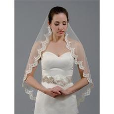 Spitze Brautschleier einschichtige Spitze Hochzeitsschleier kurzer billiger Schleier