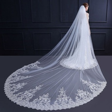 Exquisite Pailletten Spitze Schleier langen Schwanz Hochzeitsschleier Braut billigen Schleier