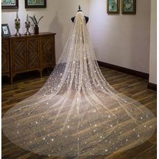Super langer Hochzeitsschleier der sternenklaren Schleierbraut Champagne