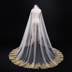 3M goldener Spitze-Schleier-Kathedralen-Hochzeits-Schleier-Brautschleier-Hochzeits-Zusätze