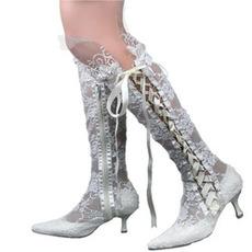 Mode sexy Spitze hohle Schnürung Damenstiefel Hochzeitsspitze Stiefel