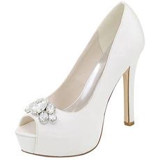 Abendschuhe Strass Hochzeit Schuhe sexy Fisch Mund High Heel Hochzeit Schuhe Stiletto Sandalen