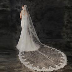 3 Meter langer Brautschleier Spitzenapplikation Schleier Elfenbein weißer Schleier