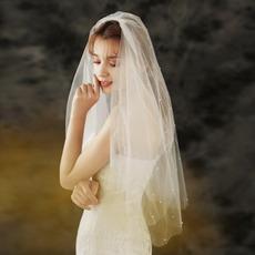 Einfache Hochzeitsschleier Braut Hochzeit Kopfschmuck Foto Studio Foto Schleier Doppelbestellung Perlenschleier