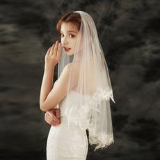 Braut Spitze Schleier Hochzeit kurze Hochzeitsschleier mit Haaren gekämmten Schleier Hochzeit Zubehör