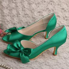 Satin Schmetterling Hochzeitsschuhe Seite hohl Stiletto High Heels grüne Brautjungfer Schuhe