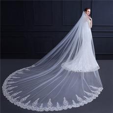 New Style lange Brautschleier Hochzeitsschleier Pailletten Spitze exquisite Schleier 3M