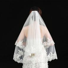 Hochzeitsschleier eleganter kurzer Schleier echter Fotoschleier eine Schicht weißer Elfenbein Brautschleier