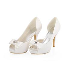 Weiße Hochzeit High Heels Satin Seide Hochzeitsschuhe Stiletto Schuhe für Frauen