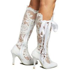 Hohlstiefel sexy Spitze hohe Stiefel über dem Knie Stöckelabsatz Hochzeit Damenstiefel