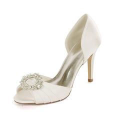 Satin Strass Fisch Mund Schuhe Braut Hochzeit High Heels