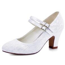 Weiße Spitze dicke Ferse Hochzeitsschuhe runde Zehen High Heel Hochzeitsschuhe Brautjungfer Schuhe